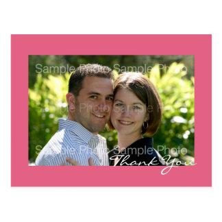 Rosa beställnings- vykort för fotobrölloptack
