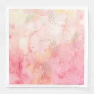 Rosa blom- bakgrund för vattenfärg pappersservetter