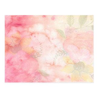 Rosa blom- bakgrund för vattenfärg vykort