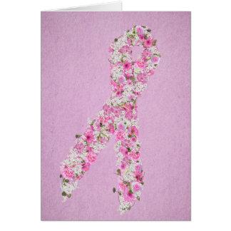 Rosa blom- bröstcancermedvetenhetband hälsningskort