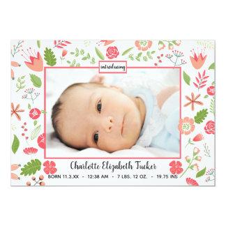 Rosa blom- buketter - födelsemeddelande 12,7 x 17,8 cm inbjudningskort