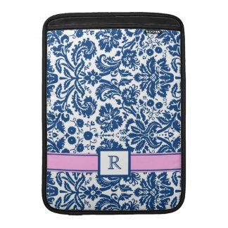 Rosa blom- damast Macbook för beställnings- Monogr MacBook Sleeve