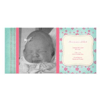 Rosa blom- födelsemeddelande för vintage fotokort