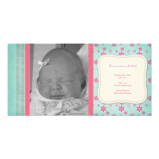 Rosa blom- födelsemeddelande för vintage anpassade foto kort