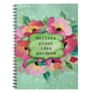 Rosa blom- för författareväxt för bukett | anteckningsbok