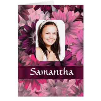 Rosa blom- fotomall hälsningskort