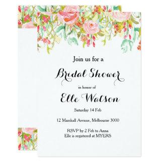 Rosa blom- inbjudningskort för möhippan