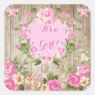 Rosa blom- lantlig Wood flicka för baby shower Fyrkantigt Klistermärke