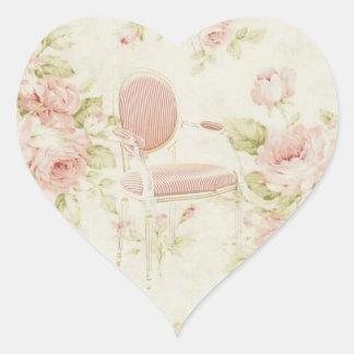 Rosa blom- ljuskrona för franskBudoir vintage Hjärtformat Klistermärke