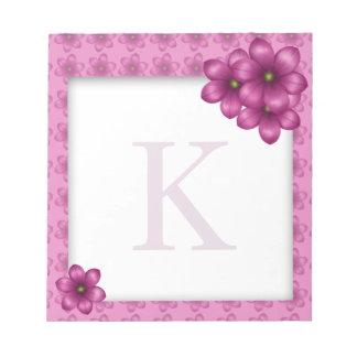 Rosa blom- Monogram Anteckningsblock