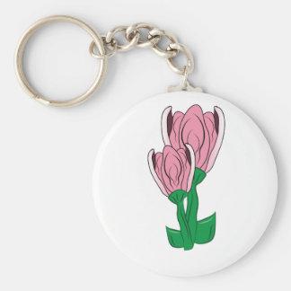 Rosa blom rund nyckelring