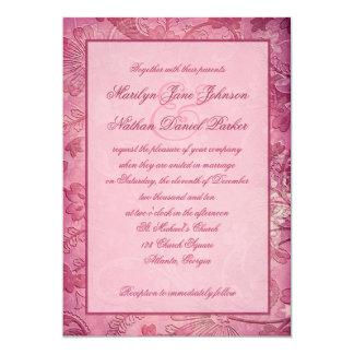 Rosa blom- Paisley bröllopinbjudan 12,7 X 17,8 Cm Inbjudningskort