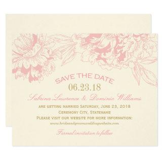 Rosa blom- piondesign för bröllop spara datum | 10,8 x 14 cm inbjudningskort