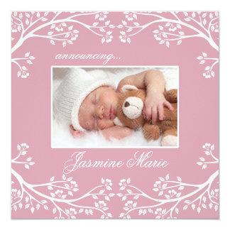 Rosa blom- ram för babytillkännagivande för fyrkantigt 13,3 cm inbjudningskort