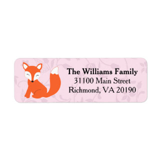 Rosa blom- skogsmarkbabyräv returadress etikett