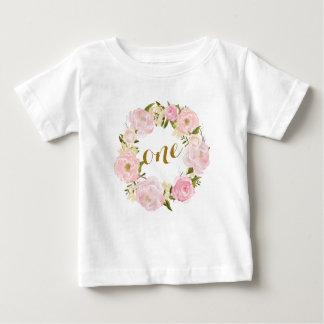 Rosa blom- T-tröja för första födelsedag T-shirt