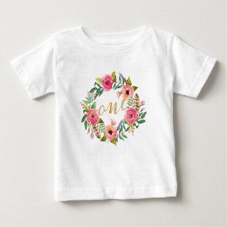Rosa blom- T-tröja för första födelsedag Tee