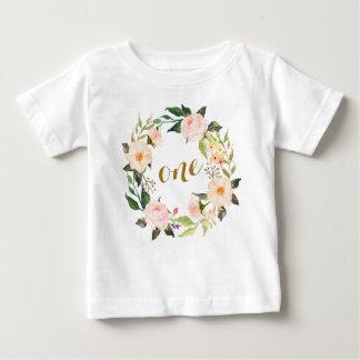 Rosa blom- T-tröja för första födelsedag Tee Shirt
