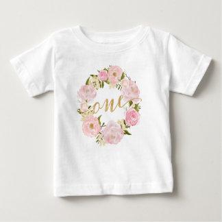 Rosa blom- T-tröja för första födelsedag Tee Shirts