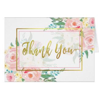Rosa blom- tackkort hälsningskort