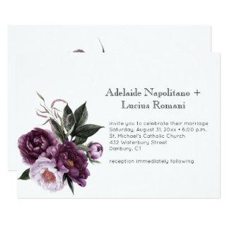 Rosa blom- vattenfärg för purpurfärgad plommon som 12,7 x 17,8 cm inbjudningskort