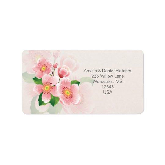 Rosa blommaadressAvery etikett Adressetikett