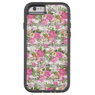 Rosa blommigt på notblad tough xtreme iPhone 6 fodral