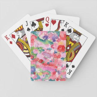 Rosa blommigt som leker kort spelkort