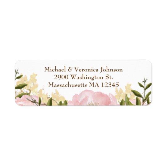 Rosa blommigtetiketter returadress etikett