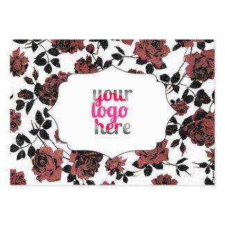 Rosa blommönster för urblekt svart röd vintage set av breda visitkort