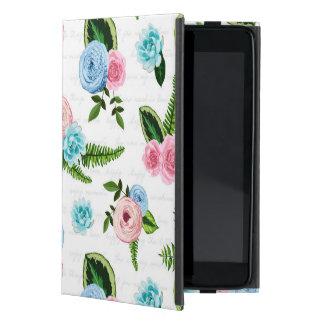 Rosa blommor för blått X på vit #2 iPad Mini Fodral