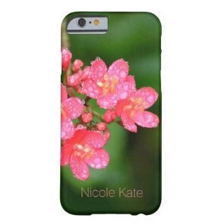 Rosa blommor med vatten tappar monogramen barely there iPhone 6 skal