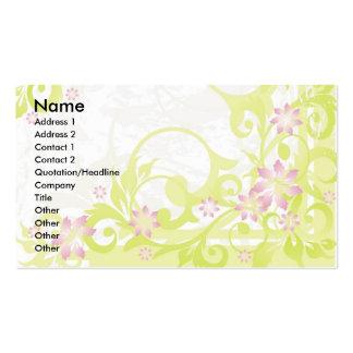 rosa blommor set av standard visitkort