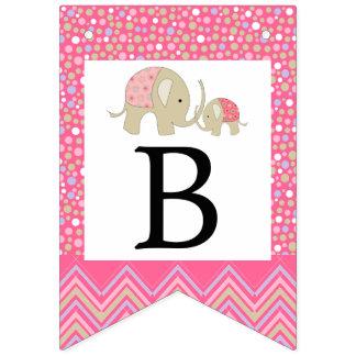 Rosa bohemisk elefant- och sparrebaby shower vimplar