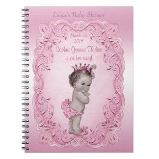 Rosa bok för gäst för vintagePrincess baby shower Spiral Anteckningsböcker