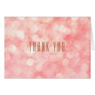 Rosa Bokeh Shimmer vikt tackkort Hälsningskort