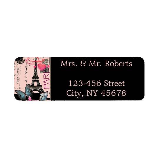 rosa bröllop för paris eiffel torndestination returadress etikett