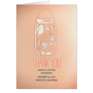 rosa bröllop för snäckskalmasonburken tackar dig OBS kort