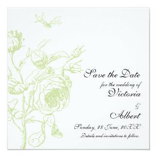 Rosa bröllopinbjudan för vintage fyrkantigt 13,3 cm inbjudningskort