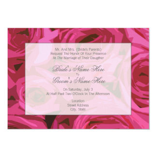 Rosa bröllopinbjudan - från brud föräldrar 12,7 x 17,8 cm inbjudningskort