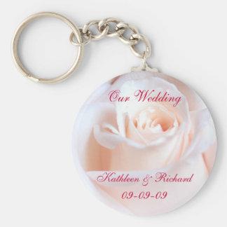Rosa bröllopnyckelring för romantiker rund nyckelring