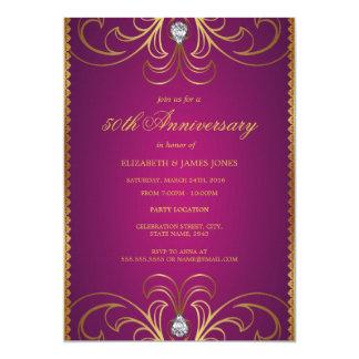 Rosa- & bröllopsdaginbjudan för guld 50th 12,7 x 17,8 cm inbjudningskort