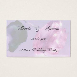 Rosa bröllopsfestinbjudan visitkort