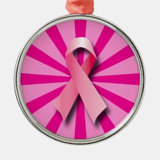 Rosa bröstcancerband julgransprydnad metall