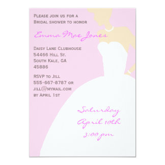 Rosa brudSilhouetteinbjudningskort för möhippan 12,7 X 17,8 Cm Inbjudningskort