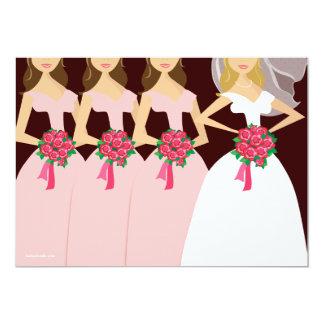 Rosa brudtärnamöhippa för härlig brud 12,7 x 17,8 cm inbjudningskort