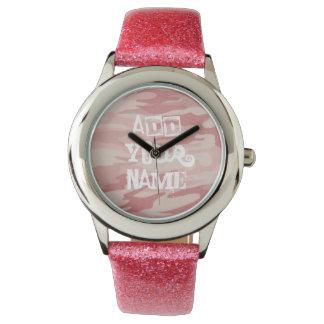 Rosa Camo med rosaglitterläder fäster Armbandsur