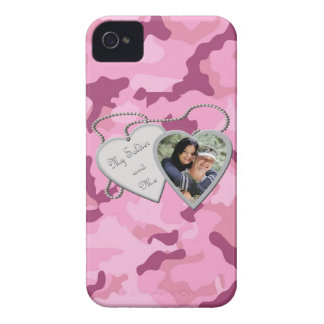 Rosa Camo min soldat & mig beställnings- foto Blac iPhone 4 Cover