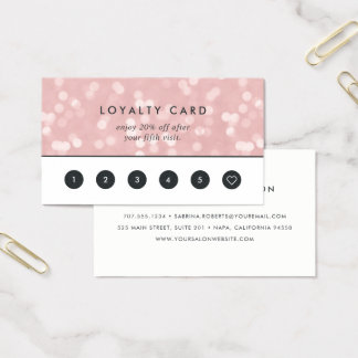 Rosa champagneBokeh | lojalitet Visitkort