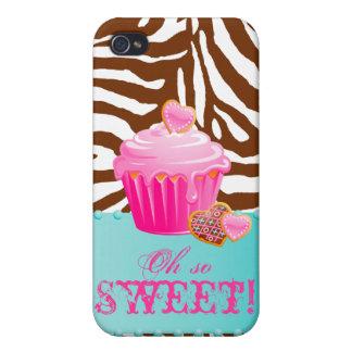 Rosa choklad för sebraiPhonemuffin - brunt iPhone 4 Cases